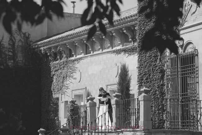 novios besándose delante fachada palacio-Fotografías de boda