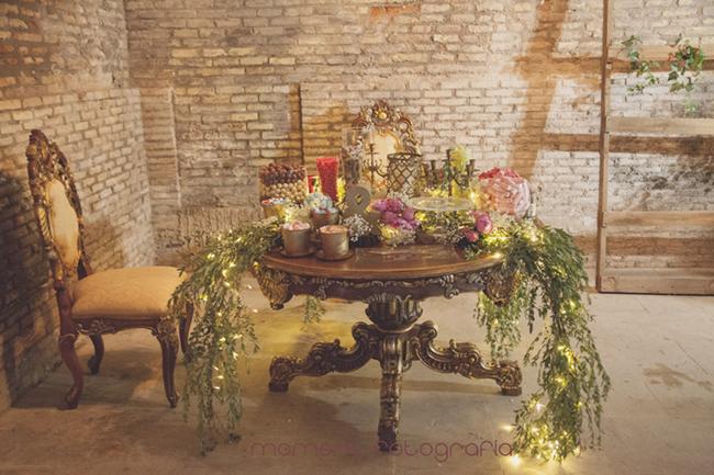 decoración romántica mesa candy bar-Fotografías de boda