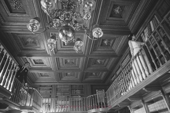 novios visitan biblioteca palacio-Fotografías de boda